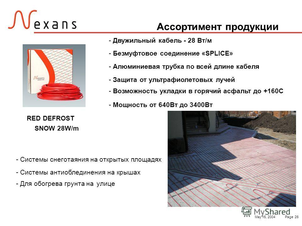 May 15, 2004Page 26 Ассортимент продукции - Двужильный кабель - 28 Вт/м - Безмуфтовое соединение «SPLICE» - Алюминиевая трубка по всей длине кабеля - Защита от ультрафиолетовых лучей - Возможность укладки в горячий асфальт до +160С - Мощность от 640В