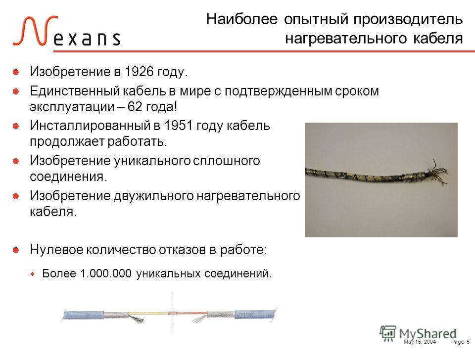 May 15, 2004Page 5 Наиболее опытный производитель нагревательного кабеля Изобретение в 1926 году. Единственный кабель в мире с подтвержденным сроком эксплуатации – 62 года! Инсталлированный в 1951 году кабель продолжает работать. Изобретение уникальн