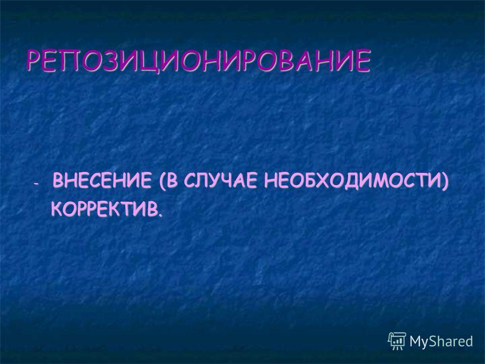 РЕПОЗИЦИОНИРОВАНИЕ - ВНЕСЕНИЕ (В СЛУЧАЕ НЕОБХОДИМОСТИ) - ВНЕСЕНИЕ (В СЛУЧАЕ НЕОБХОДИМОСТИ) КОРРЕКТИВ. КОРРЕКТИВ.