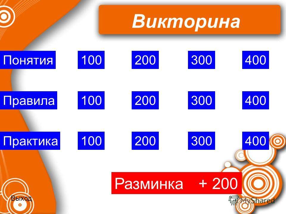 Викторина 100 200 400 300 100 Практика Правила Понятия Разминка + 200 Выход