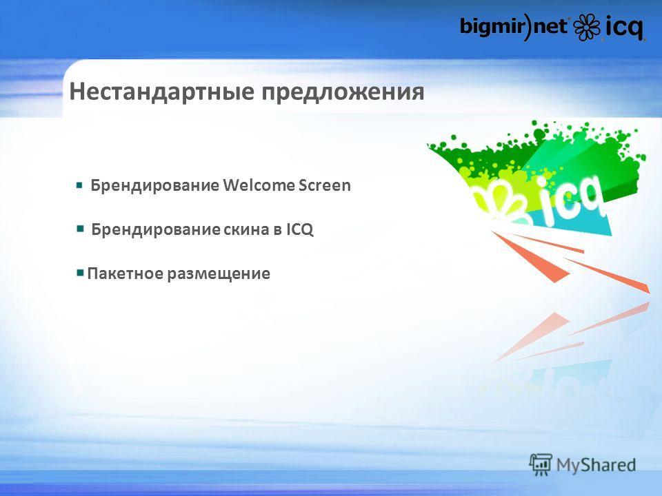Нестандартные предложения Брендирование Welcome Screen Брендирование скина в ICQ Пакетное размещение