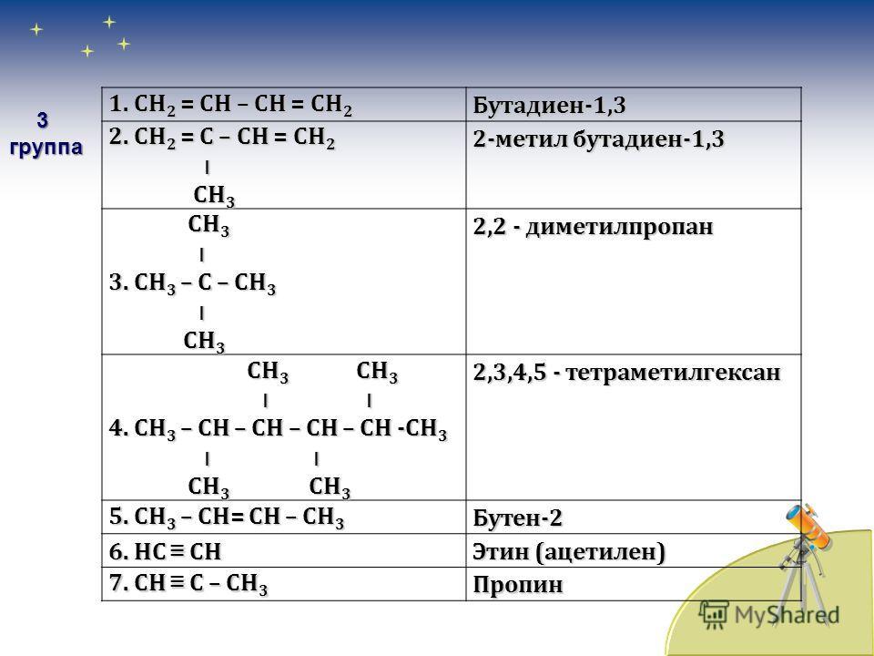 1. СН 2 = С – СН 3 1. СН 2 = С – СН 3 ׀ Сl Сl2-хлорпропен 2. СН 3 – СН = СН – СН 3 Бутен-2 3. НС СН 3. НС СН Этин (ацетилен) СН 3 СН 3 ׀ ׀ 4. СН 3 – С – СН – СН 3 4. СН 3 – С – СН – СН 3 ׀ ׀ ׀ ׀ С 2 Н 5 СН 3 С 2 Н 5 СН 3 2,3 - диметилпентан СН 3 СН 3