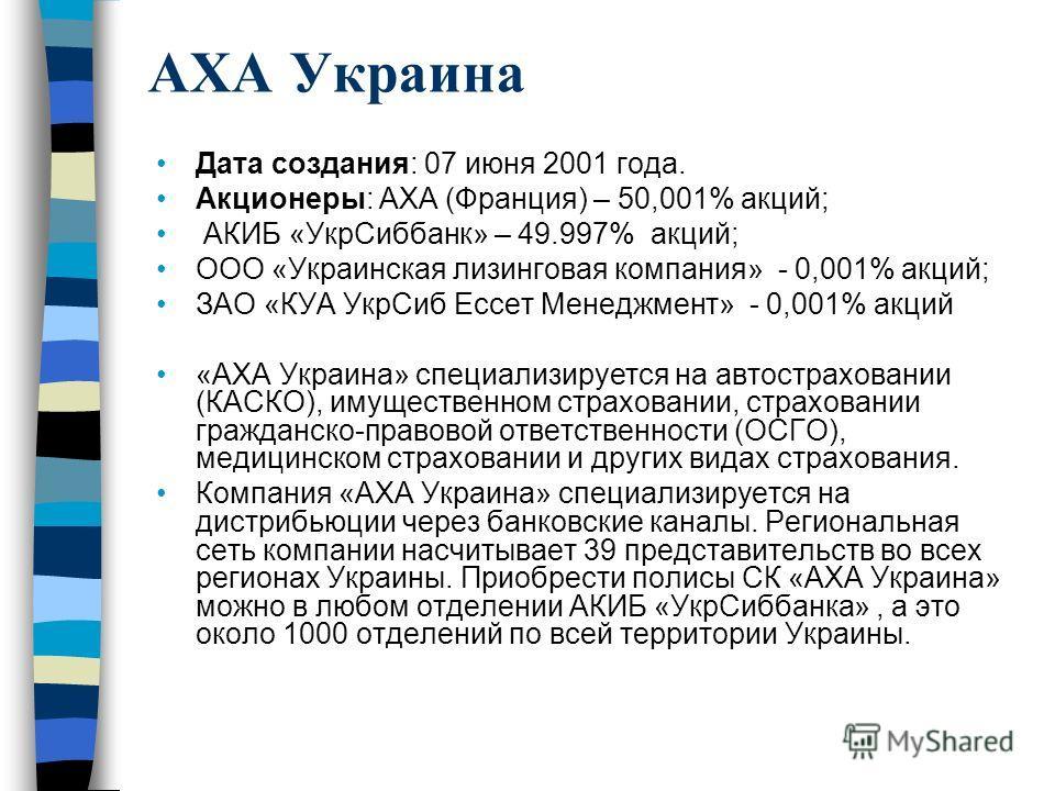 AXA Украина Дата создания: 07 июня 2001 года. Акционеры: АХА (Франция) – 50,001% акций; АКИБ «УкрСиббанк» – 49.997% акций; ООО «Украинская лизинговая компания» - 0,001% акций; ЗАО «КУА УкрСиб Ессет Менеджмент» - 0,001% акций «AXA Украина» специализир