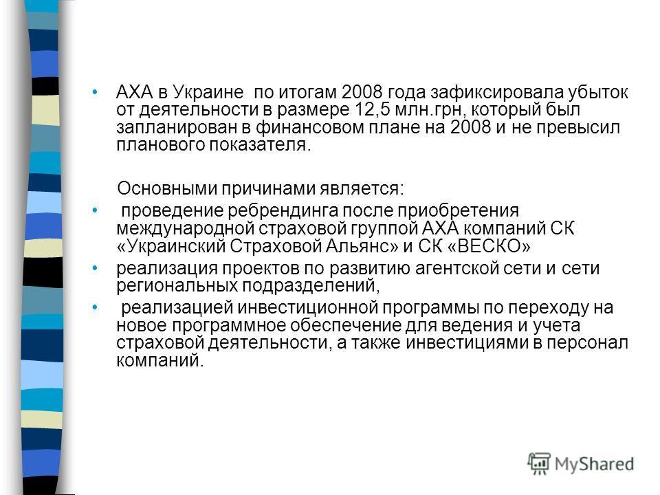 АХА в Украине по итогам 2008 года зафиксировала убыток от деятельности в размере 12,5 млн.грн, который был запланирован в финансовом плане на 2008 и не превысил планового показателя. Основными причинами является: проведение ребрендинга после приобрет