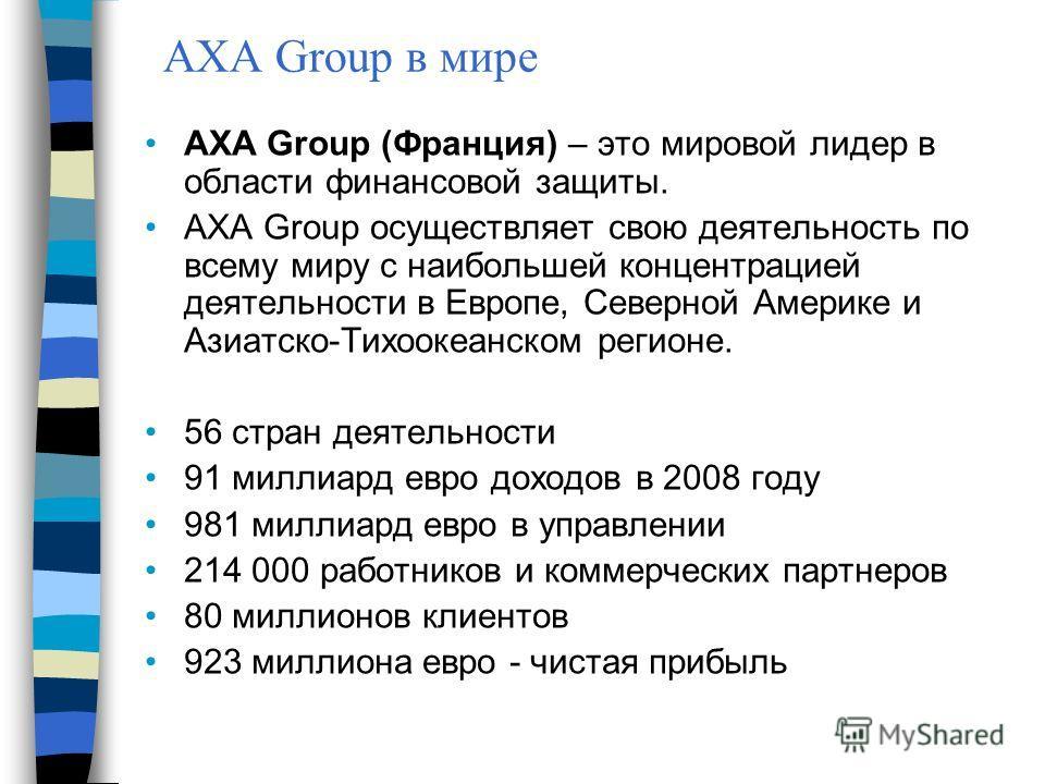 AXA Group (Франция) – это мировой лидер в области финансовой защиты. АХА Group осуществляет свою деятельность по всему миру с наибольшей концентрацией деятельности в Европе, Северной Америке и Азиатско-Тихоокеанском регионе. 56 стран деятельности 91