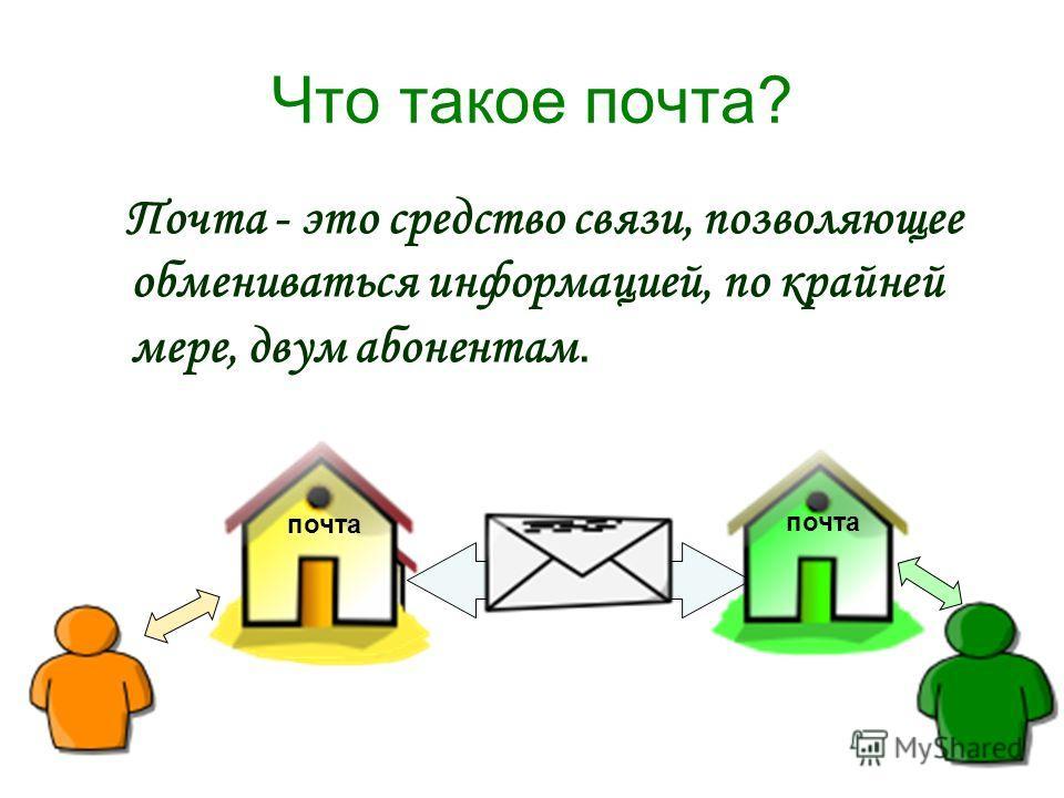 Что такое почта? Почта - это средство связи, позволяющее обмениваться информацией, по крайней мере, двум абонентам. почта