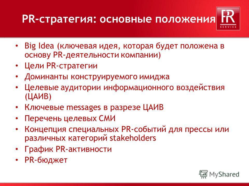 18 PR-стратегия: основные положения Big Idea (ключевая идея, которая будет положена в основу PR-деятельности компании) Цели PR-стратегии Доминанты конструируемого имиджа Целевые аудитории информационного воздействия (ЦАИВ) Ключевые messages в разрезе