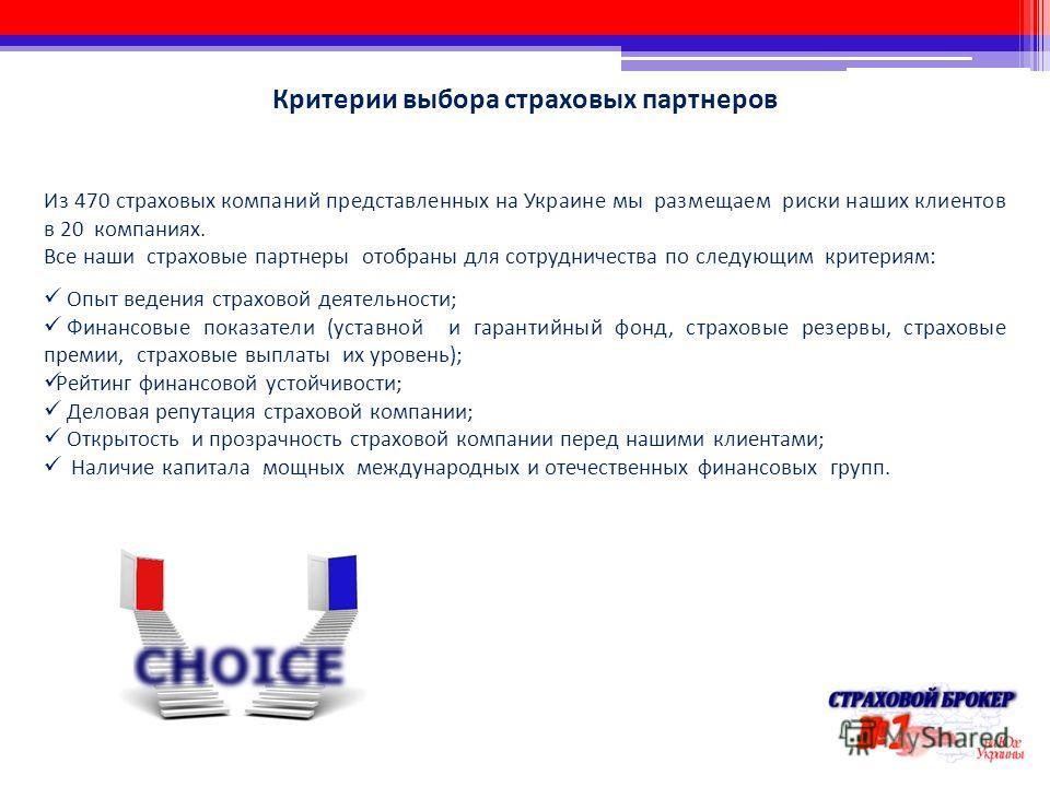 Критерии выбора страховых партнеров Из 470 страховых компаний представленных на Украине мы размещаем риски наших клиентов в 20 компаниях. Все наши страховые партнеры отобраны для сотрудничества по следующим критериям: Опыт ведения страховой деятельно