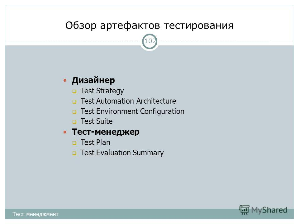 Обзор артефактов тестирования 102 Дизайнер Test Strategy Test Automation Architecture Test Environment Configuration Test Suite Тест-менеджер Test Plan Test Evaluation Summary Тест-менеджмент
