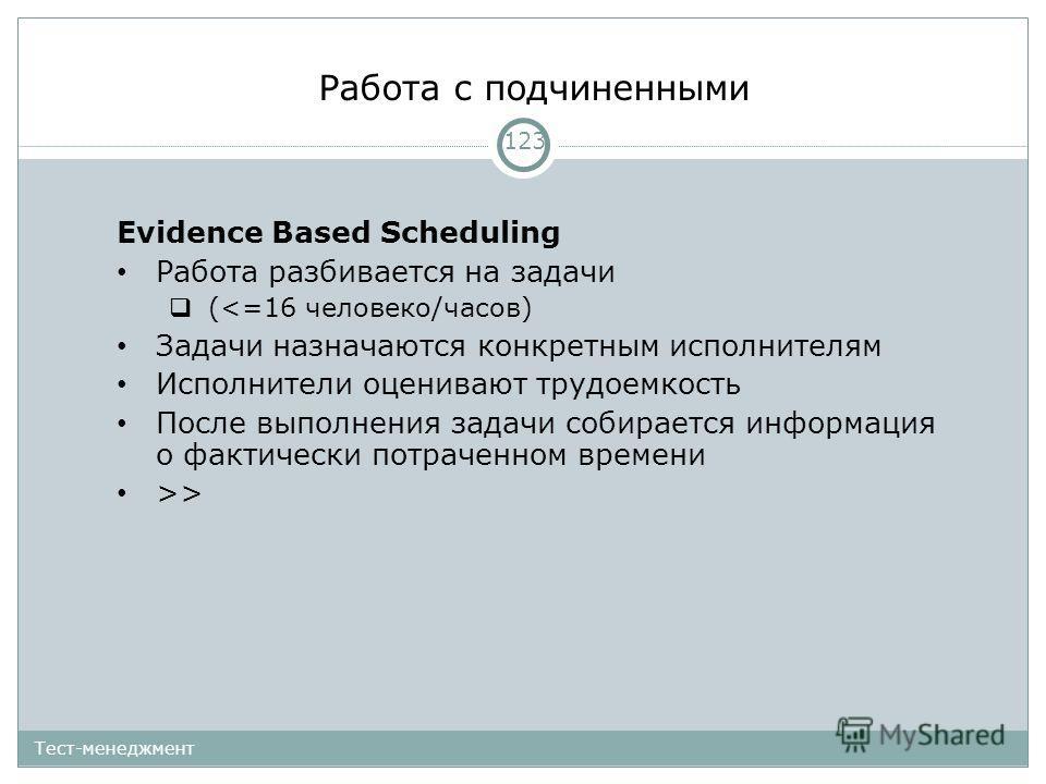 Работа с подчиненными 123 Тест-менеджмент Evidence Based Scheduling Работа разбивается на задачи (>