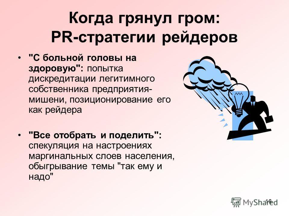 16 Когда грянул гром: PR-стратегии рейдеров