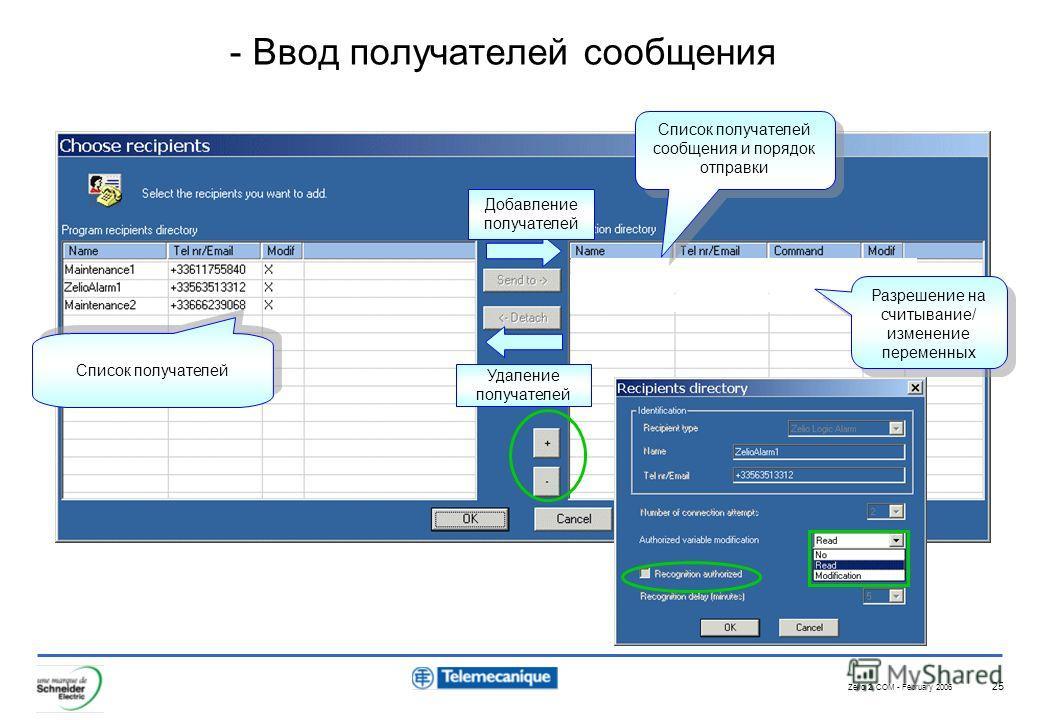 Zelio 2 COM - February 2006 25 - Ввод получателей сообщения Список получателей Добавление получателей Удаление получателей Разрешение на считывание/ изменение переменных Список получателей сообщения и порядок отправки