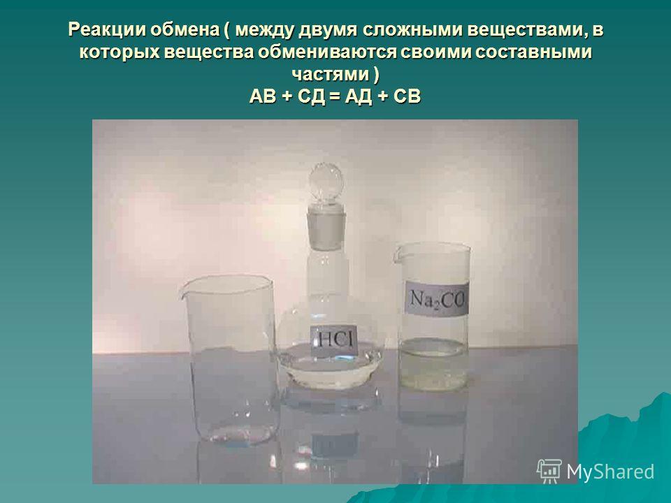 Реакции обмена ( между двумя сложными веществами, в которых вещества обмениваются своими составными частями ) АВ + СД = АД + СВ