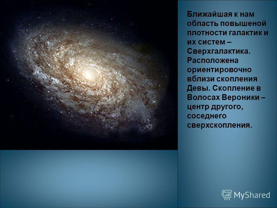 Ближайшая к нам область повышеной плотности галактик и их систем – Сверхгалактика. Расположена ориентировочно вблизи скопления Девы. Скопление в Волосах Вероники – центр другого, соседнего сверхскопления.