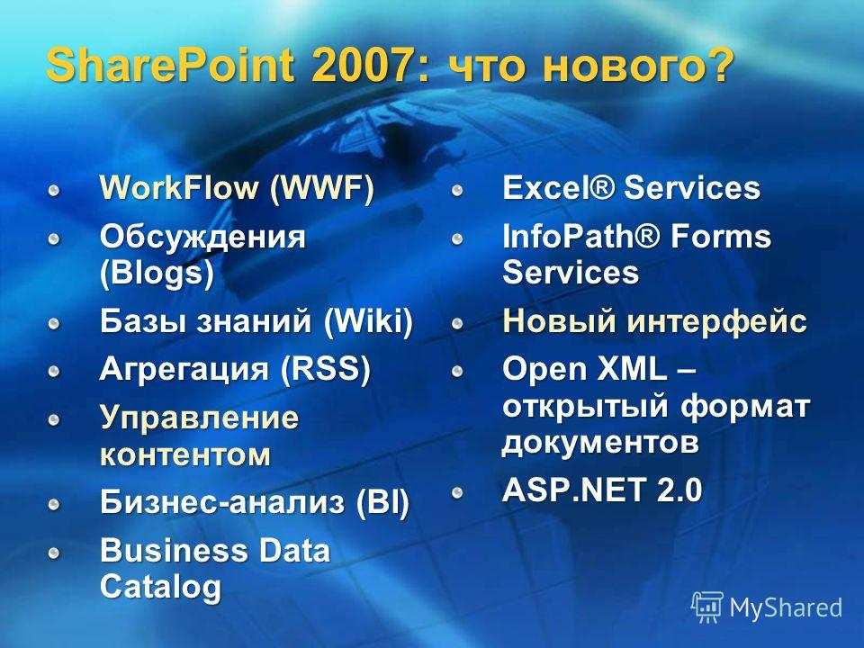 SharePoint 2007: что нового? WorkFlow (WWF) Обсуждения (Blogs) Базы знаний (Wiki) Агрегация (RSS) Управление контентом Бизнес-анализ (BI) Business Data Catalog Excel® Services InfoPath® Forms Services Новый интерфейс Open XML – открытый формат докуме