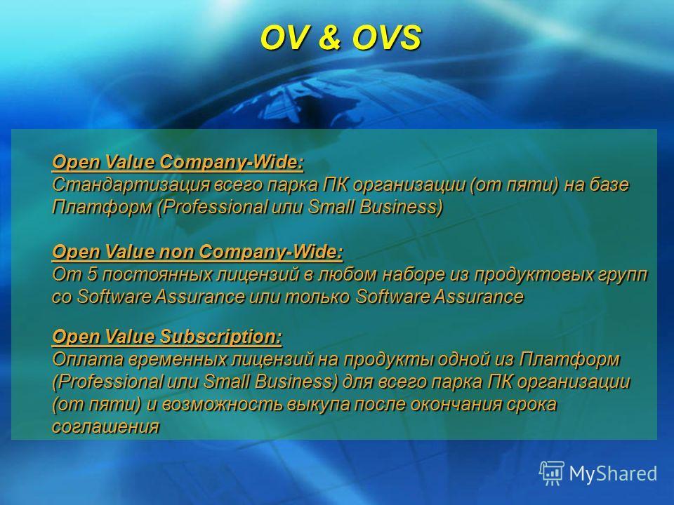 OV & OVS Open Value Company-Wide: Стандартизация всего парка ПК организации (от пяти) на базе Платформ (Professional или Small Business) Open Value non Company-Wide: От 5 постоянных лицензий в любом наборе из продуктовых групп со Software Assurance и
