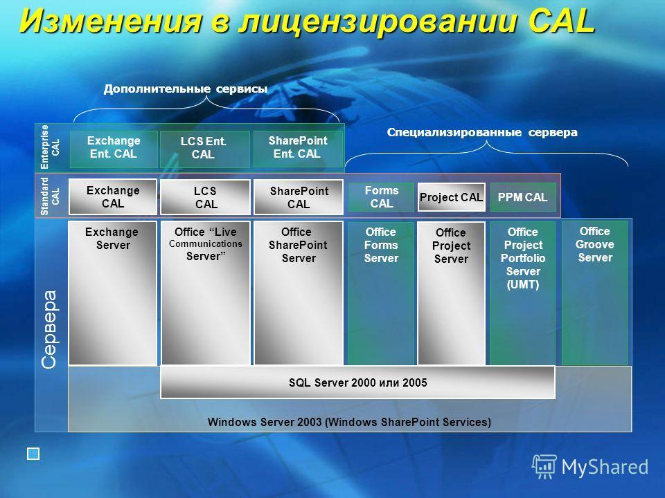 Windows Server 2003 (Windows SharePoint Services) Специализированные сервера Standard CAL Enterprise CAL Сервера Изменения в лицензировании CAL Office Live Communications Server LCS CAL Exchange Server Exchange CAL Дополнительные сервисы Office Proje