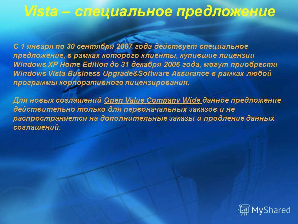 Vista – специальное предложение С 1 января по 30 сентября 2007 года действует специальное предложение, в рамках которого клиенты, купившие лицензии Windows XP Home Edition до 31 декабря 2006 года, могут приобрести Windows Vista Businеss Upgrade&Softw