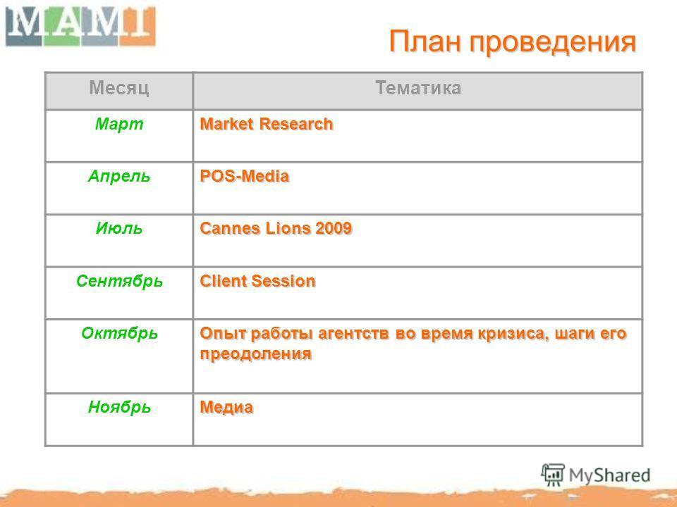 План проведения МесяцТематика Март Market Research АпрельPOS-Media Июль Cannes Lions 2009 Сентябрь Client Session Октябрь Опыт работы агентств во время кризиса, шаги его преодоления НоябрьМедиа