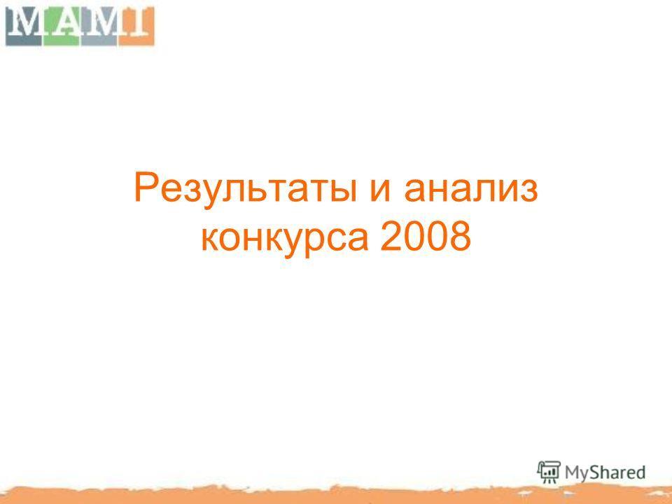 Результаты и анализ конкурса 2008