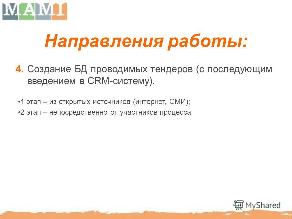 Направления работы: 4. Создание БД проводимых тендеров (c последующим введением в CRM-систему). 1 этап – из открытых источников (интернет, СМИ); 2 этап – непосредственно от участников процесса