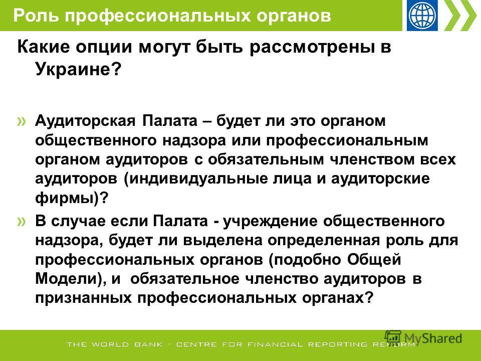 Какие опции могут быть рассмотрены в Украине? Аудиторская Палата – будет ли это органом общественного надзора или профессиональным органом аудиторов с обязательным членством всех аудиторов (индивидуальные лица и аудиторские фирмы)? В случае если Пала