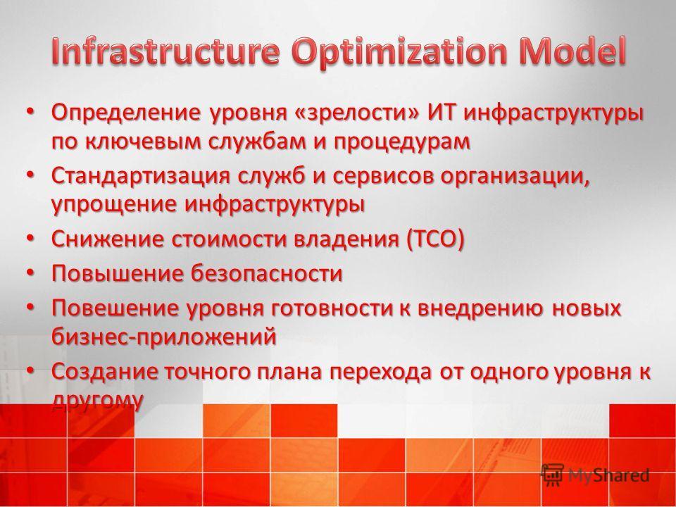 Определение уровня «зрелости» ИТ инфраструктуры по ключевым службам и процедурам Определение уровня «зрелости» ИТ инфраструктуры по ключевым службам и процедурам Стандартизация служб и сервисов организации, упрощение инфраструктуры Стандартизация слу