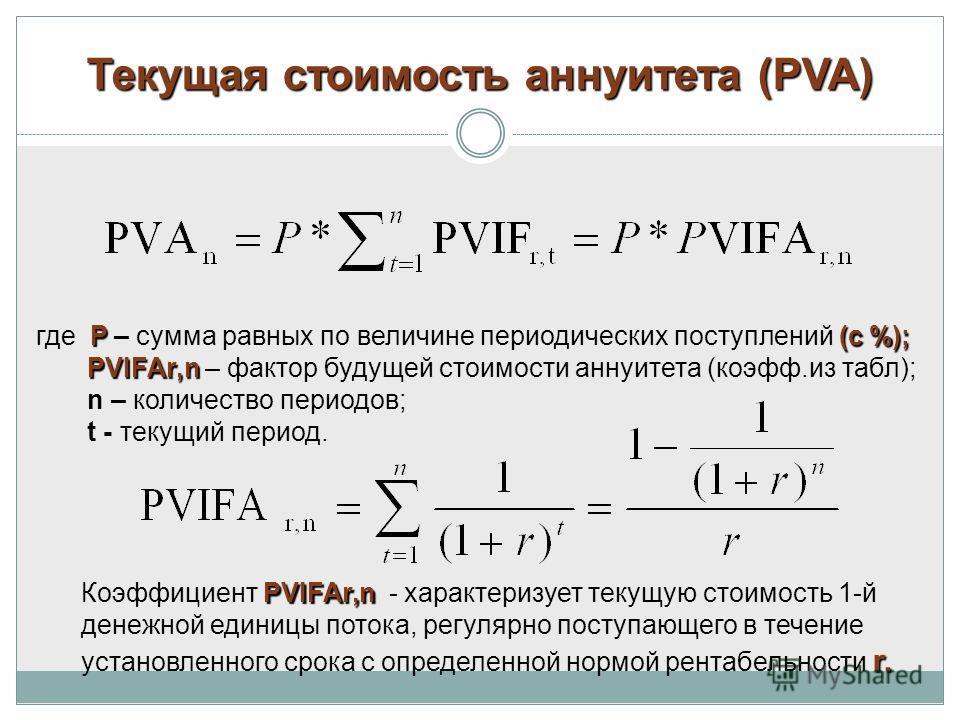 Текущая стоимость аннуитета (РVA) P(с %); где P – сумма равных по величине периодических поступлений (с %); РVIFAr,n РVIFAr,n – фактор будущей стоимости аннуитета (коэфф.из табл); n – количество периодов; t - текущий период. РVIFAr,n r. Коэффициент Р