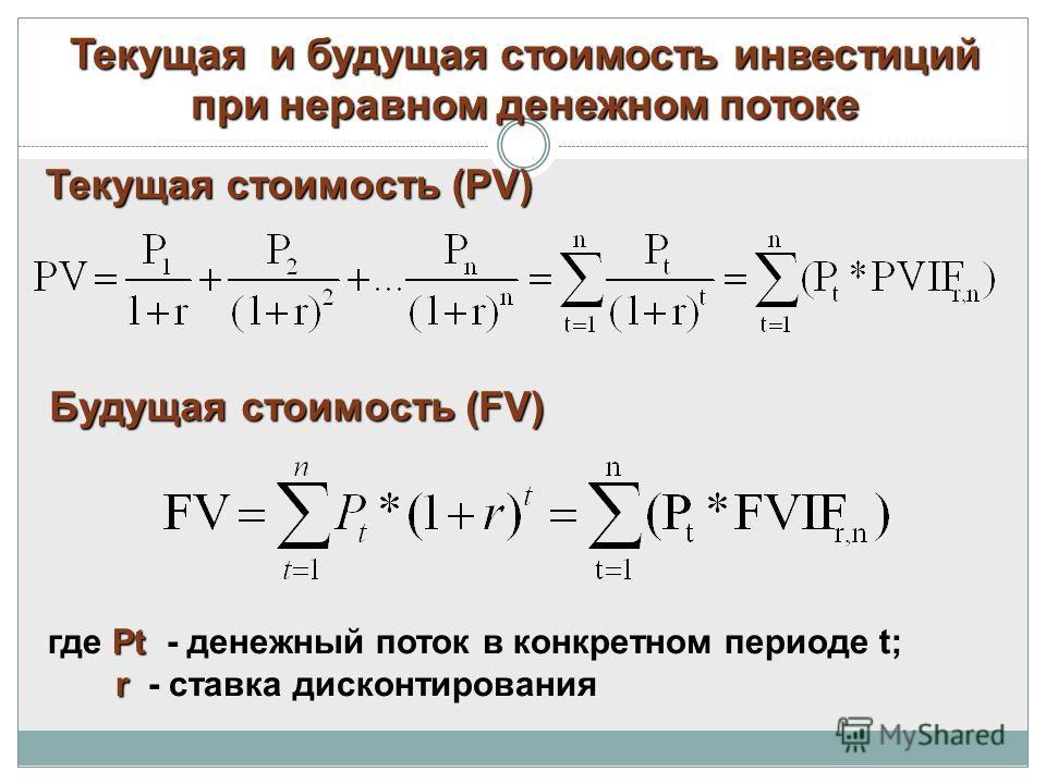 Текущая и будущая стоимость инвестиций при неравном денежном потоке Текущая стоимость (PV) Pt где Pt - денежный поток в конкретном периоде t; r r - ставка дисконтирования Будущая стоимость (FV)