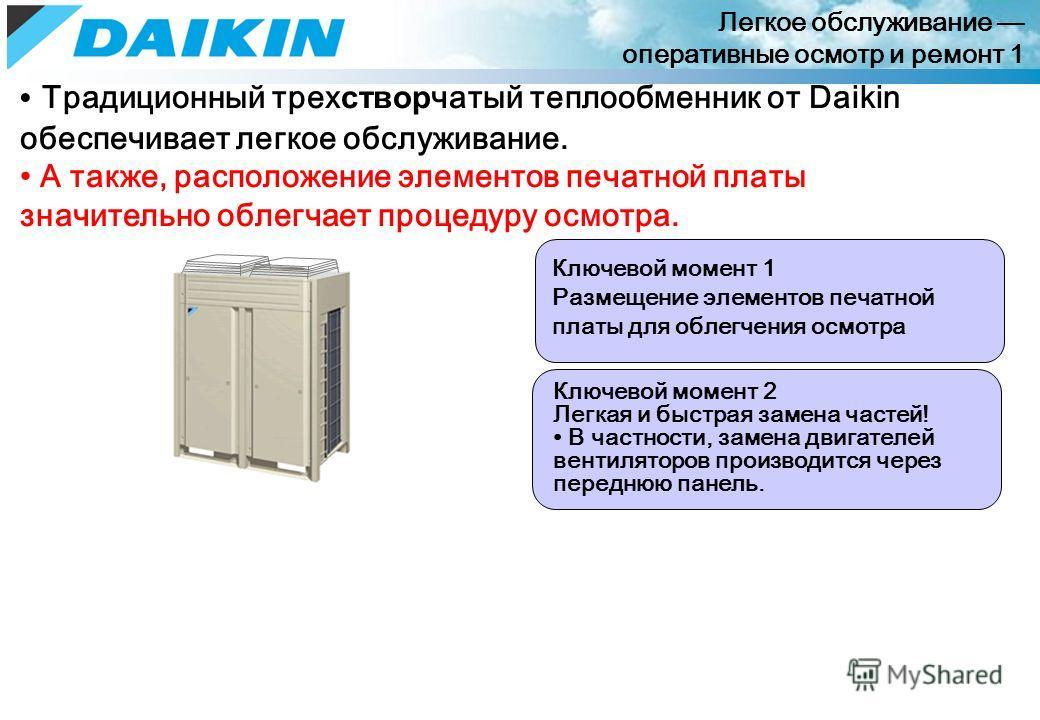 Легкое обслуживание оперативные осмотр и ремонт 1 Традиционный трех створ чатый теплообменник от Daikin обеспечивает легкое обслуживание. А также, расположение элементов печатной платы значительно облегчает процедуру осмотра. Ключевой момент 1 Размещ