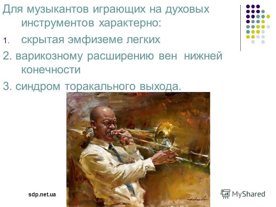 Для музыкантов играющих на духовых инструментов характерно: 1. скрытая эмфиземе легких 2. варикозному расширению вен нижней конечности 3. синдром торакального выхода. sdp.net.ua