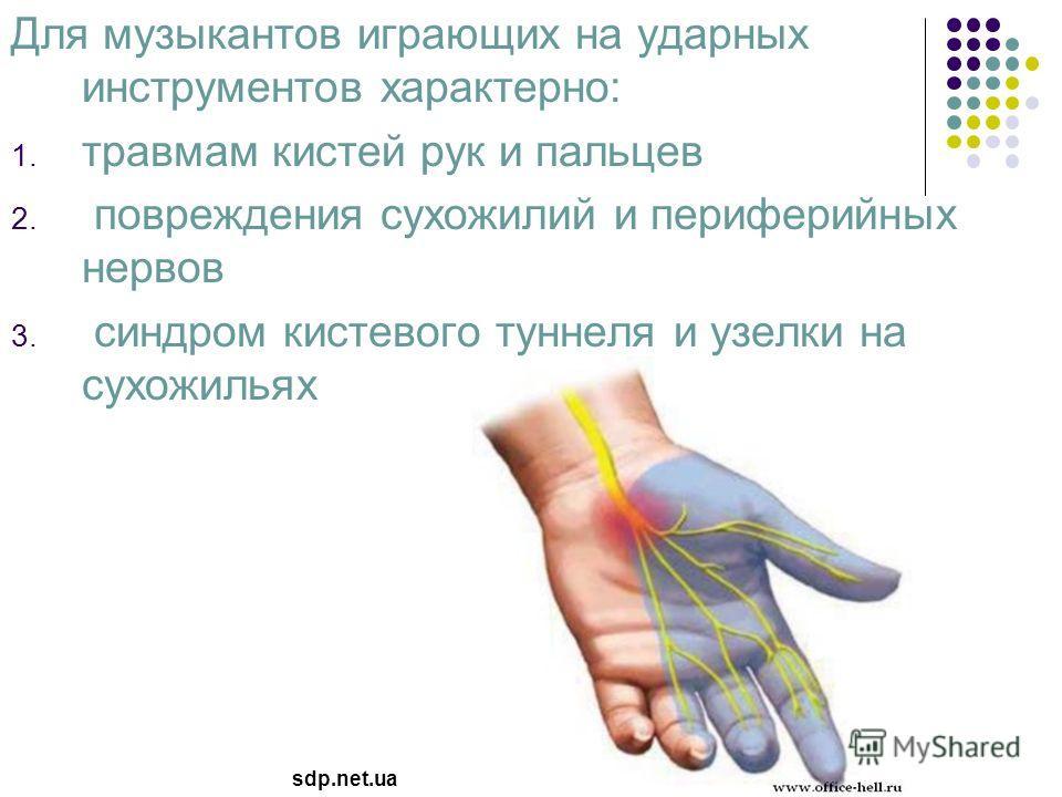 Для музыкантов играющих на ударных инструментов характерно: 1. травмам кистей рук и пальцев 2. повреждения сухожилий и периферийных нервов 3. синдром кистевого туннеля и узелки на сухожильях sdp.net.ua