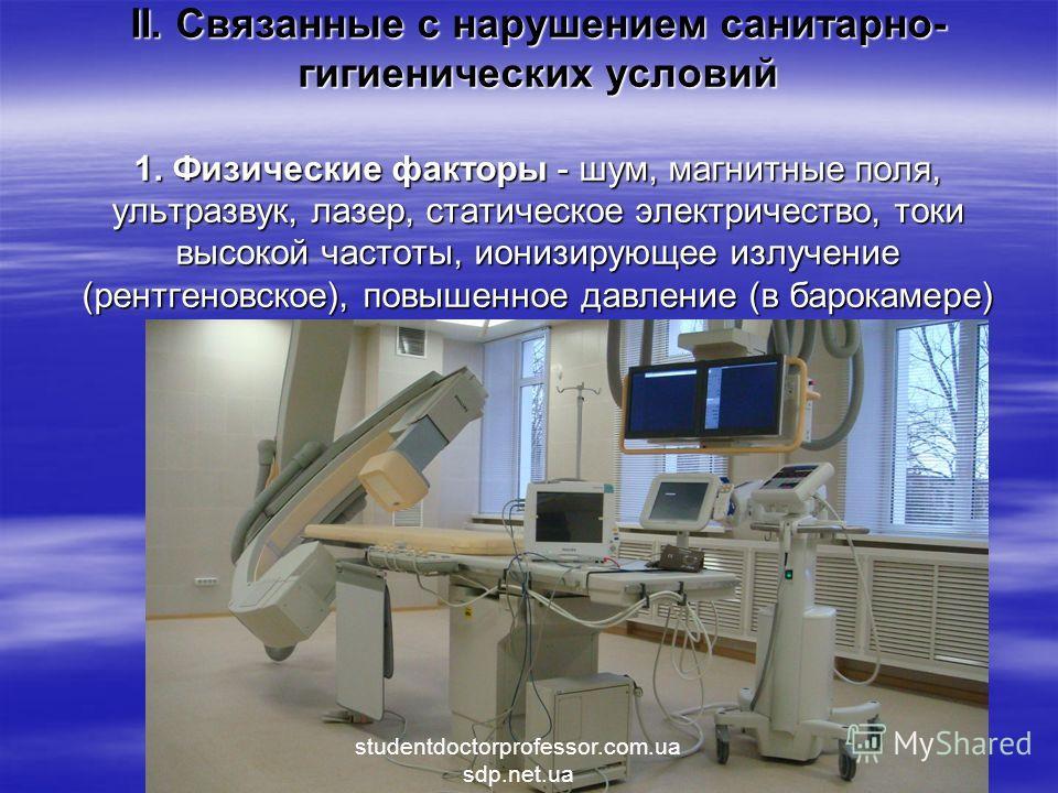 II. Связанные с нарушением санитарно- гигиенических условий 1. Физические факторы - шум, магнитные поля, ультразвук, лазер, статическое электричество, токи высокой частоты, ионизирующее излучение (рентгеновское), повышенное давление (в барокамере) st