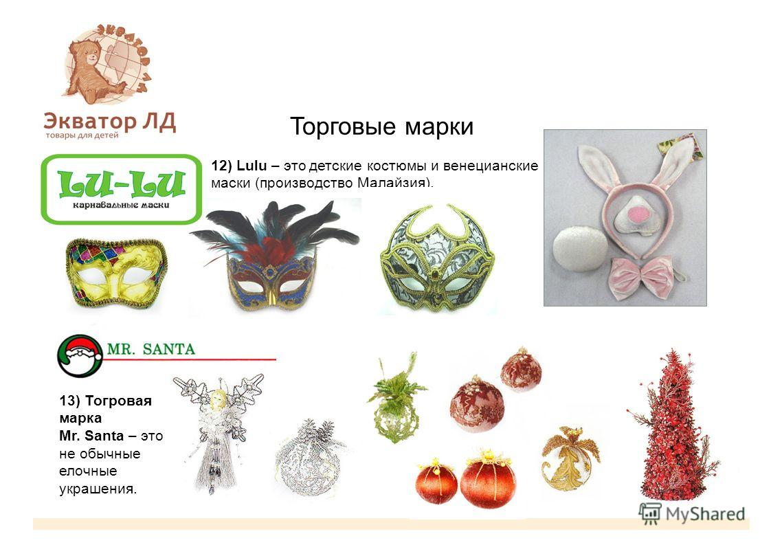 Торговые марки 12) Lulu – это детские костюмы и венецианские маски (производство Малайзия). 13) Тогровая марка Mr. Santa – это не обычные елочные украшения.