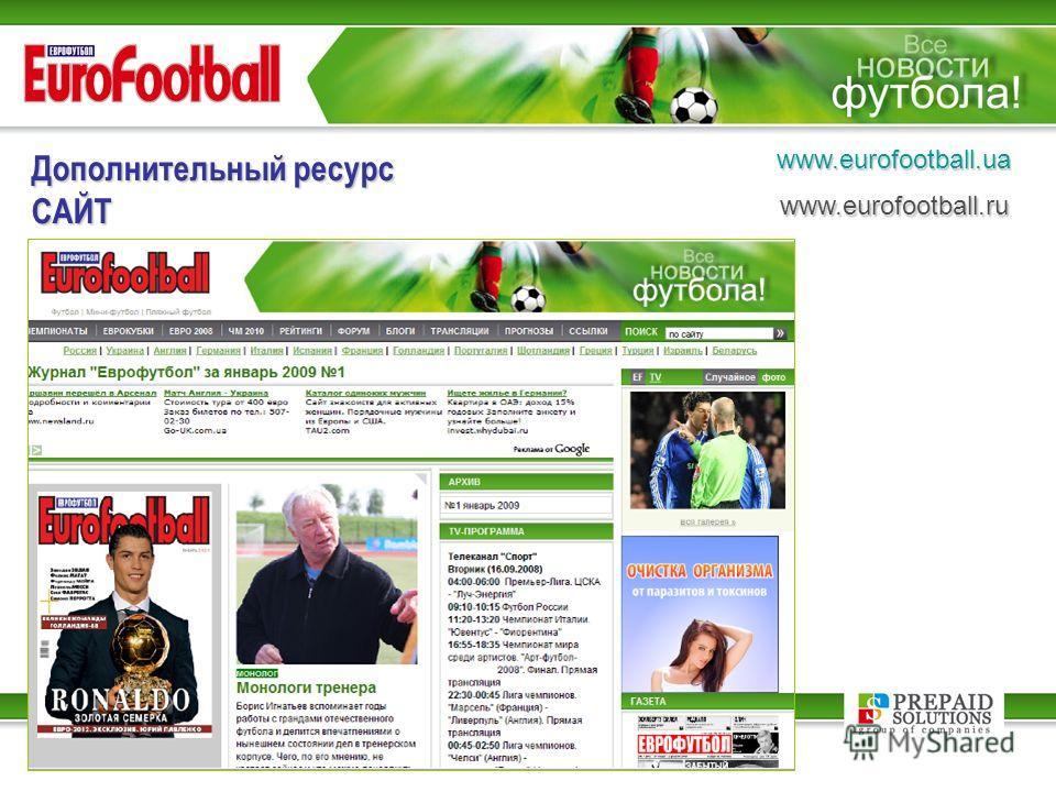 Дополнительный ресурс САЙТ www.eurofootball.uawww.eurofootball.ru