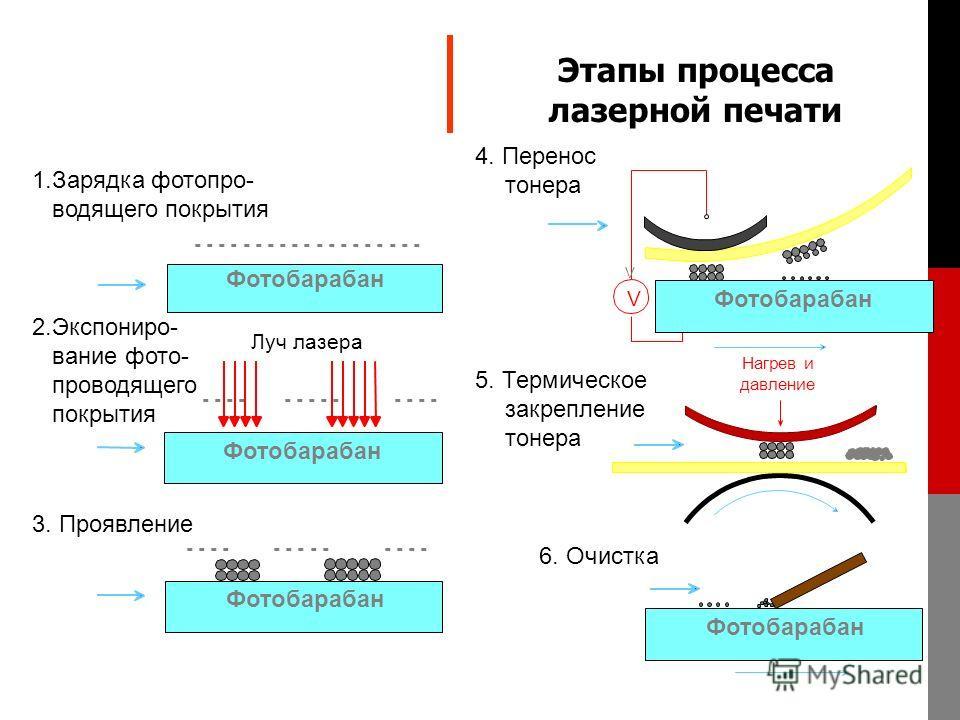 - - - - - - - - - - - - - - - - - - - 1.Зарядка фотопро- водящего покрытия Фотобарабан - - - - - - - - - - - - - 2.Экспониро- вание фото- проводящего покрытия Луч лазера Фотобарабан - - - - - - - - - - - - - 3. Проявление Фотобарабан 4. Перенос тонер