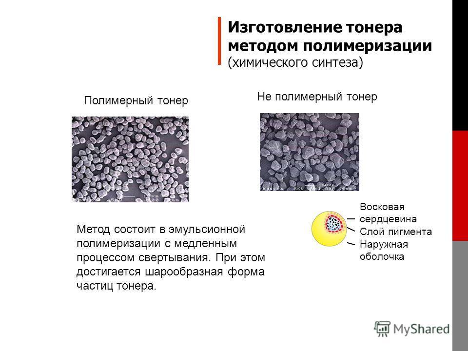 Изготовление тонера методом полимеризации (химического синтеза) Метод состоит в эмульсионной полимеризации с медленным процессом свертывания. При этом достигается шарообразная форма частиц тонера. Полимерный тонер Не полимерный тонер Восковая сердцев