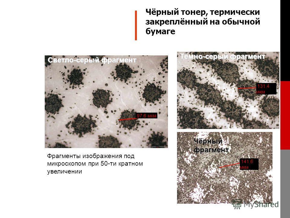 Фрагменты изображения под микроскопом при 50-ти кратном увеличении 97,6 мкм Светло-серый фрагмент 131,4 мкм Тёмно-серый фрагмент 141,6 мкм Чёрный фрагмент Чёрный тонер, термически закреплённый на обычной бумаге