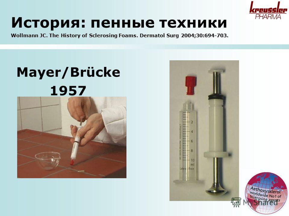 Mayer/Brücke 1957 Wollmann JC. The History of Sclerosing Foams. Dermatol Surg 2004;30:694-703. История: пенные техники