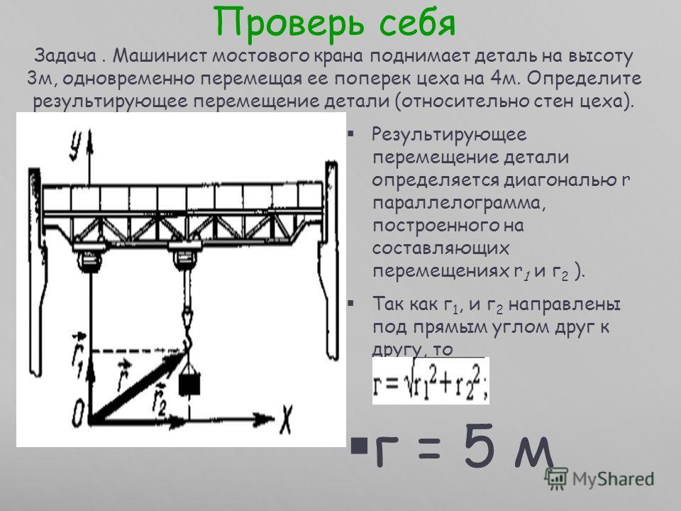 Проверь себя Задача. Машинист мостового крана поднимает деталь на высоту 3м, одновременно перемещая ее поперек цеха на 4м. Определите результирующее перемещение детали (относительно стен цеха). Результирующее перемещение детали определяется диагональ