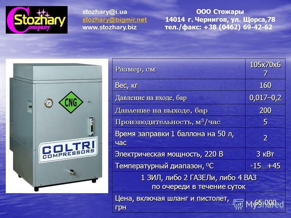 Размер, см 105х70х6 7 Вес, кг 160 Давление на входе, бар 0,017–0,2 Давление на выходе, бар 200 Производительность, м 3 /час 5 Время заправки 1 баллона на 50 л, час 2 Электрическая мощность, 220 В 3 кВт Температурный диапазон, 0 С -15…+45 1 ЗИЛ, либо