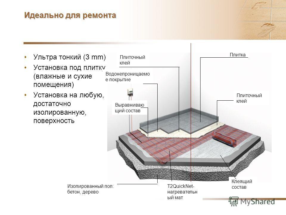 90 W/m² в основном достаточно чтобы полностью нагреть комнату Нагрев: –10-12 Вт/м²поднимает температуру на 1°C –90 Вт/м ² температура пола примерно +27°C –160 Вт/м ²до + 30-35°C! Одинаковое энергопотребление: 180 W/m² за 1 час или 90W/m² за 2 часа Не
