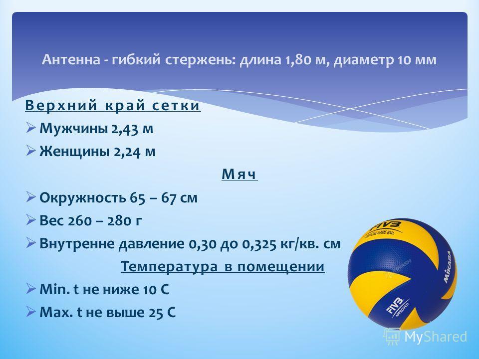 Антенна - гибкий стержень: длина 1,80 м, диаметр 10 мм Верхний край сетки Мужчины 2,43 м Женщины 2,24 м Мяч Окружность 65 – 67 см Вес 260 – 280 г Внутренне давление 0,30 до 0,325 кг/кв. см Температура в помещении Мin. t не ниже 10 С Max. t не выше 25