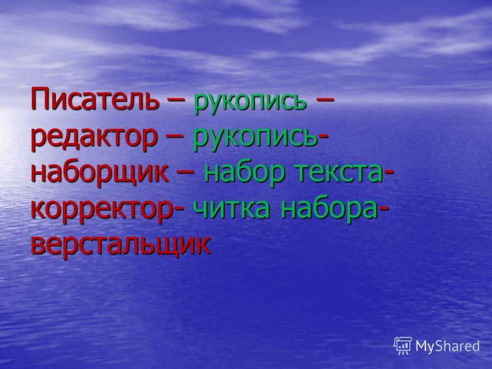 Писатель – рукопись – редактор – рукопись- наборщик – набор текста- корректор- читка набора- верстальщик