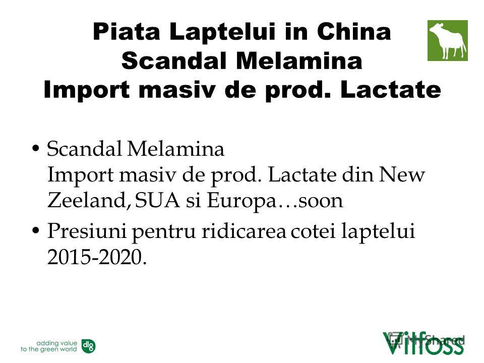 Piata Laptelui in China Scandal Melamina Import masiv de prod. Lactate Scandal Melamina Import masiv de prod. Lactate din New Zeeland, SUA si Europa…soon Presiuni pentru ridicarea cotei laptelui 2015-2020.
