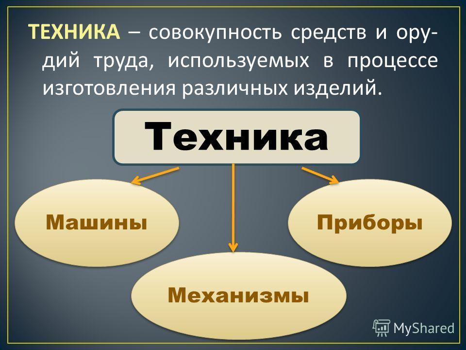 ТЕХНИКА – совокупность средств и ору - дий труда, используемых в процессе изготовления различных изделий. Техника Машины Механизмы Приборы