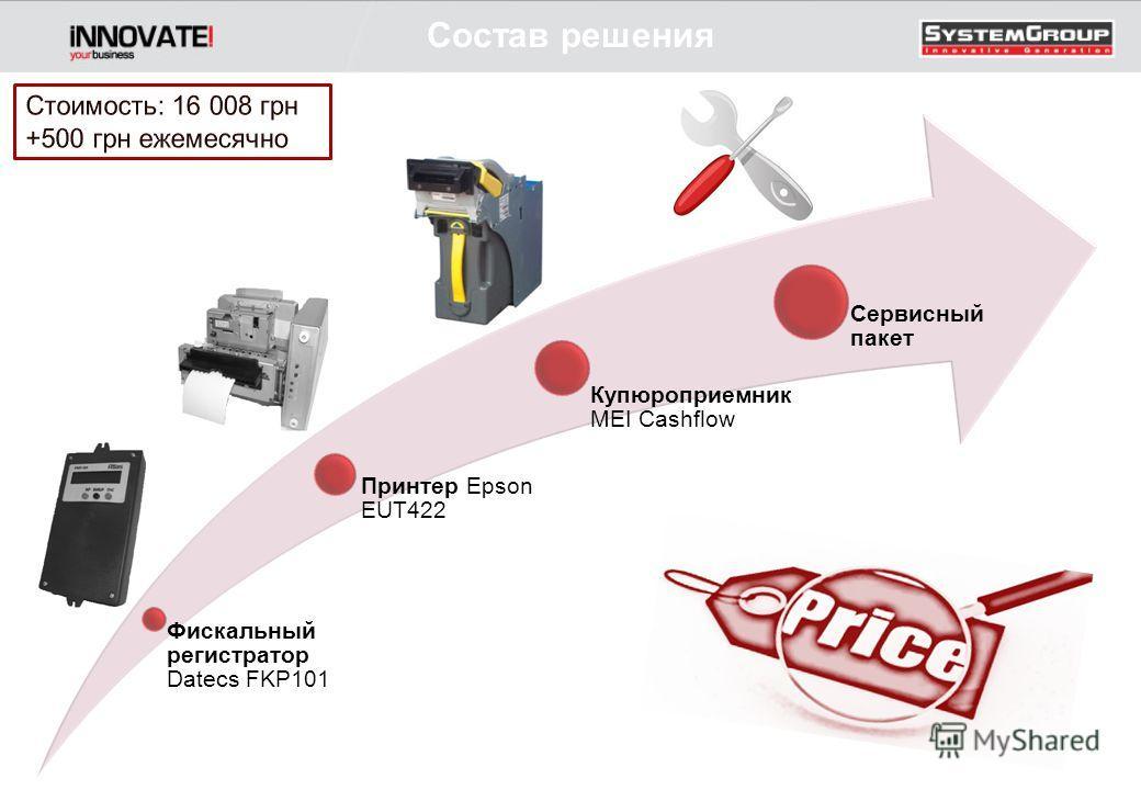 Состав решения Фискальный регистратор Datecs FKP101 Принтер Epson EUT422 Купюроприемник MEI Cashflow Сервисный пакет