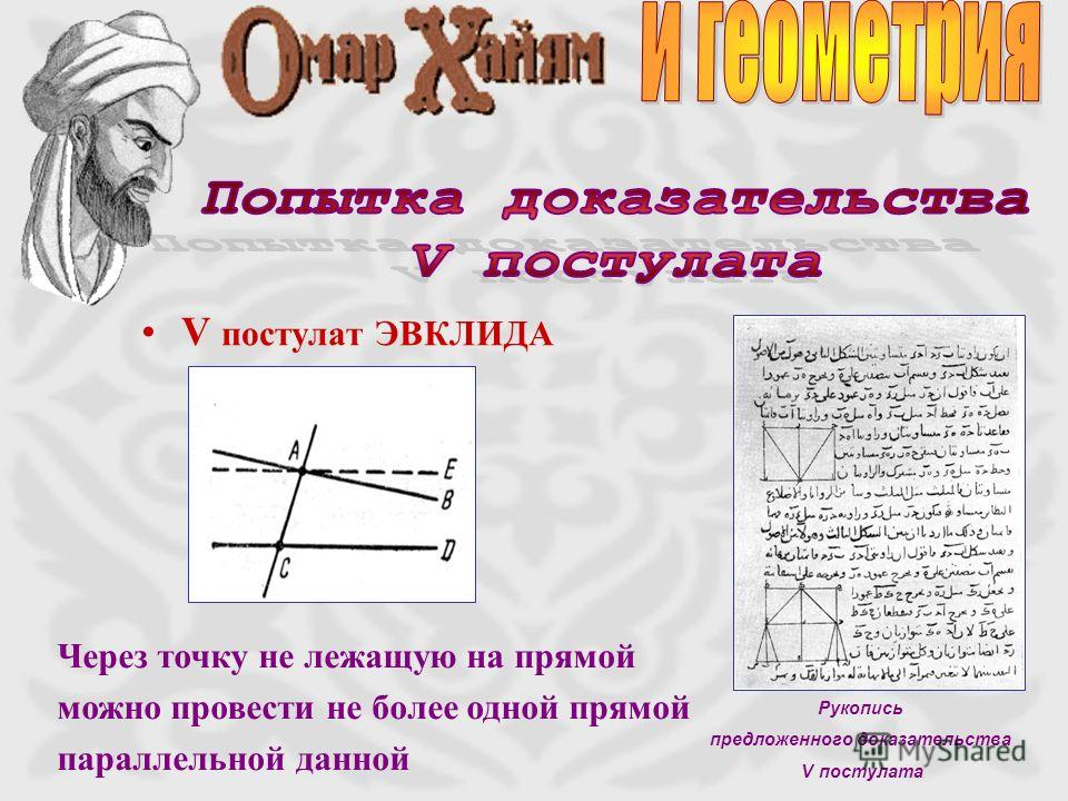 V постулат ЭВКЛИДА Через точку не лежащую на прямой можно провести не более одной прямой параллельной данной Рукопись предложенного доказательства V постулата