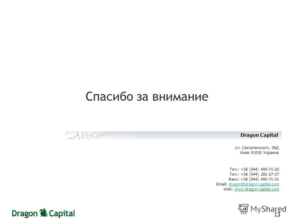 13 Спасибо за внимание Тел.: +38 (044) 490-71-20 Тел.: +38 (044) 281-27-27 Факс: +38 (044) 490-71-21 Email: dragon@dragon-capital.comdragon@dragon-capital.com Web: www.dragon-capital.com ул. Саксаганского, 36Д Киев 01030 Украина Dragon Capital