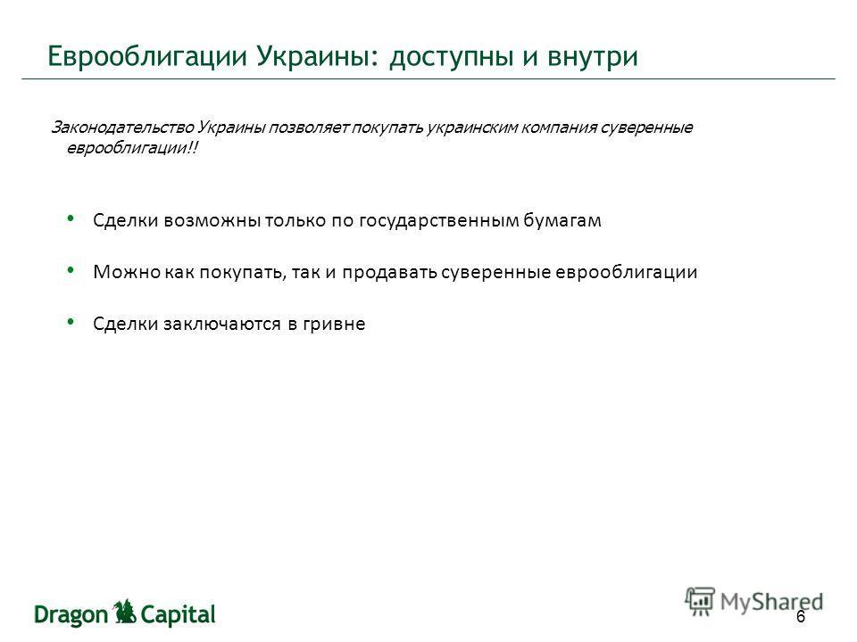 Еврооблигации Украины: доступны и внутри 6 Законодательство Украины позволяет покупать украинским компания суверенные еврооблигации!! Сделки возможны только по государственным бумагам Можно как покупать, так и продавать суверенные еврооблигации Сделк